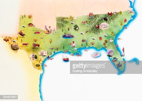 Map of Southern United States of America, with illustrations of distinguishing features and landmarks : Stock Illustration
