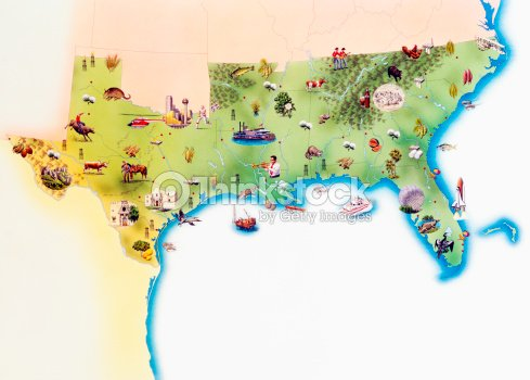 map of southern united states of america with illustrations of