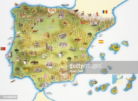 Map Of Spain And Portugal Stock Illustration Getty Images - Portugal map spain