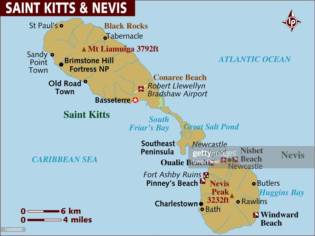 Map Of St Kitts And Nevis Stock Illustration Getty Images - Saint kitts and nevis map