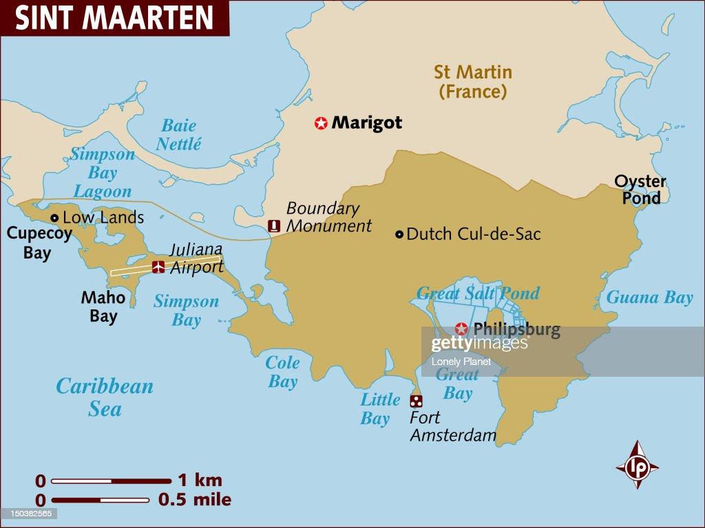 Map of St Maarten. : Stock Illustration
