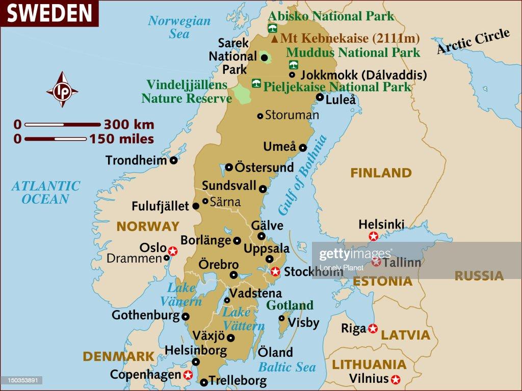 Map Of Sweden Stock Illustration Getty Images - Sweden lapland map