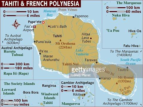Map of Tahiti and French Polynesia. : Stock Illustration
