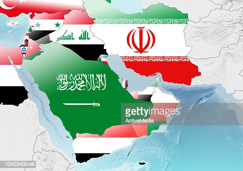Middle East Map Strait Of Hormuz.Map Of The Strait Of Hormuz And Middle East States Stock