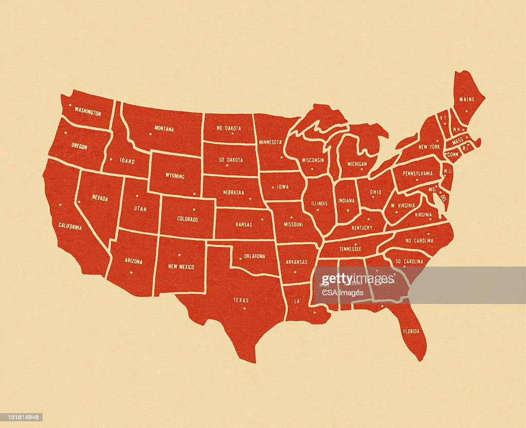 Map Of The United States Stock Illustration Getty Images - Us map 1814