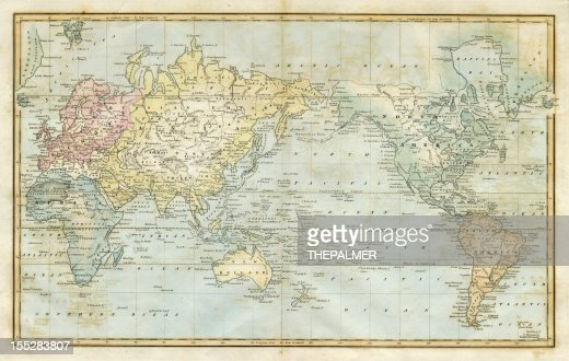 Map Of The World Stock Illustration Getty Images - Map of us in 1823