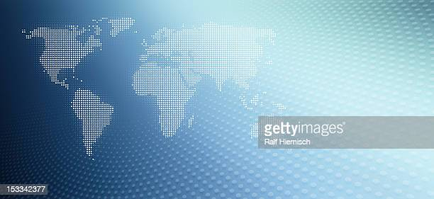Map of the world in a dot pattern against an abstract background