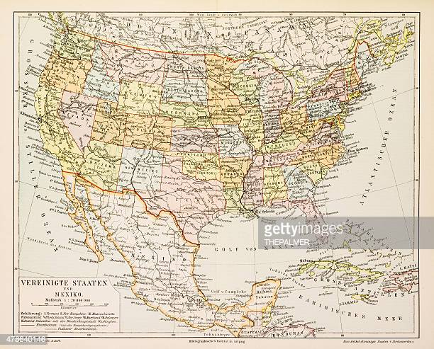 Map of United States and Mexico 1897