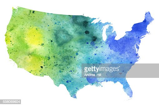 Breast Cancer Map Of United States In Watercolor Stock - Watercolor us map