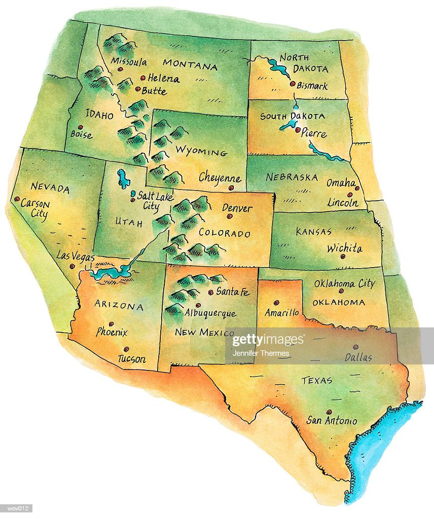 Map Of Western United States Stock Illustration Getty Images