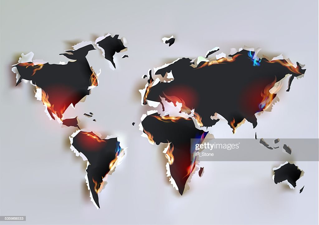 Map, Ripped paper background : Stock Illustration