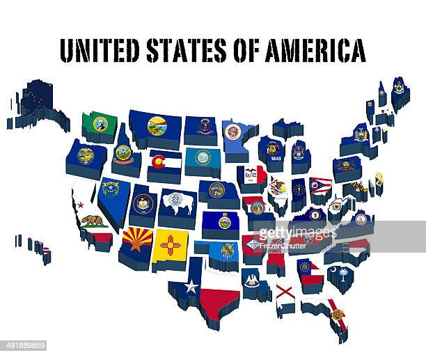 Us State Flag Stock Illustrations And Cartoons Getty Images - Us state flag map