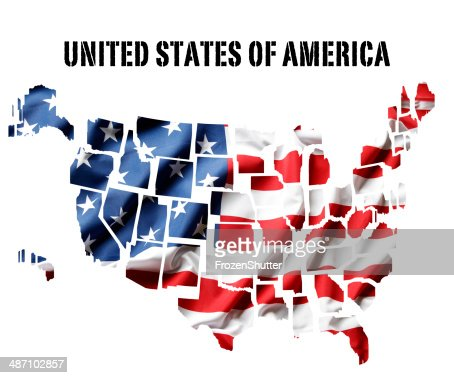 D Map United States Of America With All State Flags Stock - Us map with glag