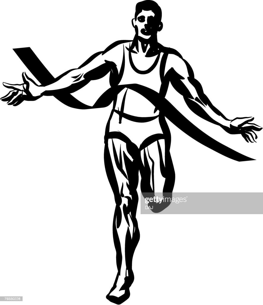 Marathon Runner, Pen and Ink : Vector Art