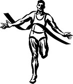 Marathon Runner, Pen and Ink