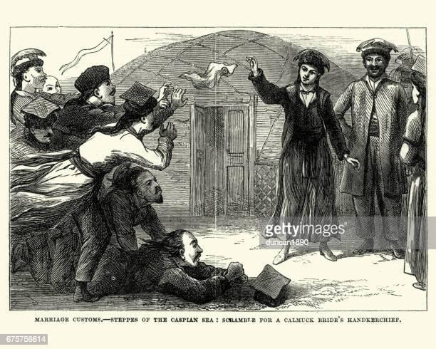 Marriage customs, Scramble for a Calmuck Bride's Handkerchief, 1870
