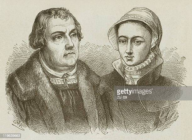 Martin Luther and his wife Katharina von Bora, published 1877