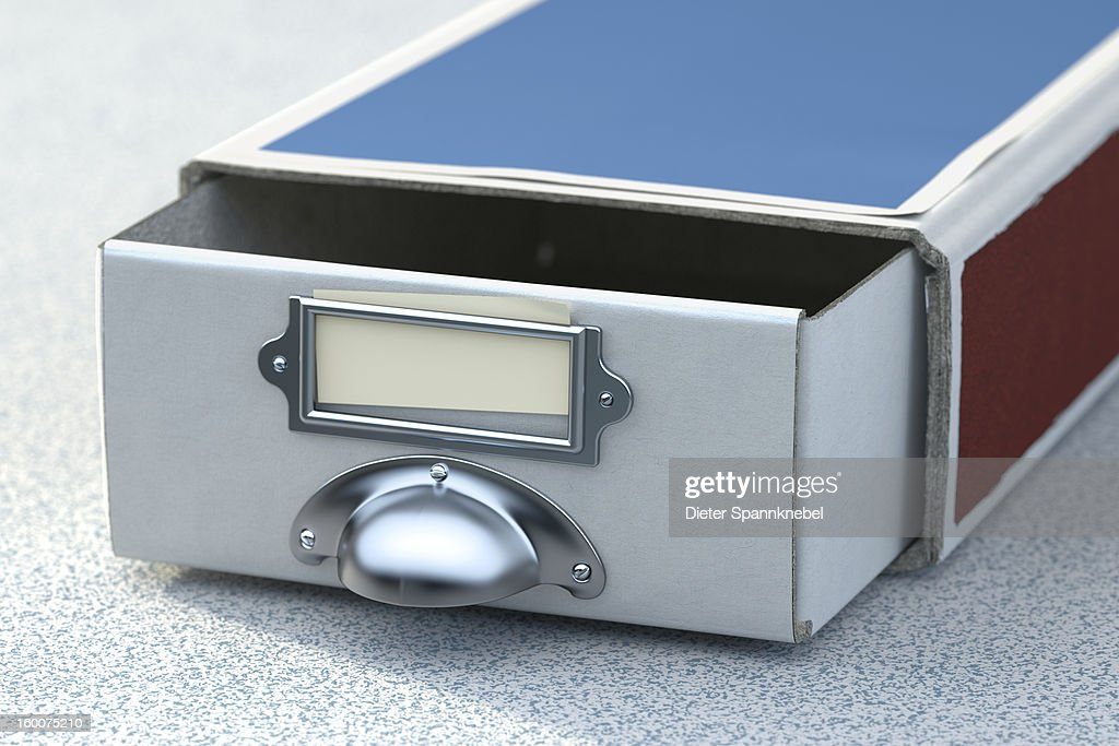 Matchbox with drawer handle and blanc label : Stock Illustration