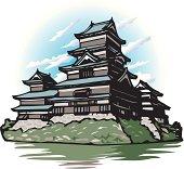 Matsumoto Castle, Woodcut, Low Angle View, Nagano Prefecture, Japan