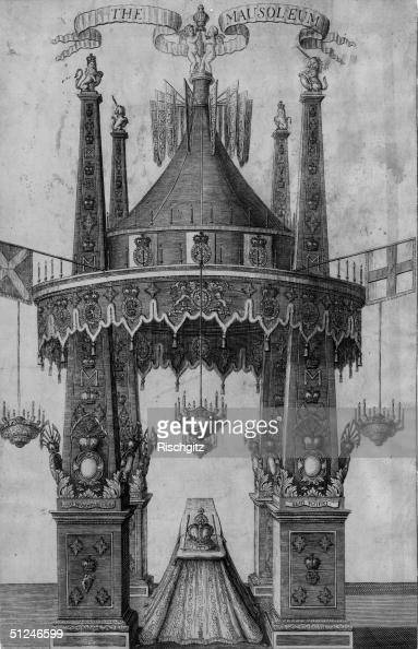 1694 Mausoleum at the lying in state of Queen Mary II in Kensington Palace Wife of William III and daughter of James II of England