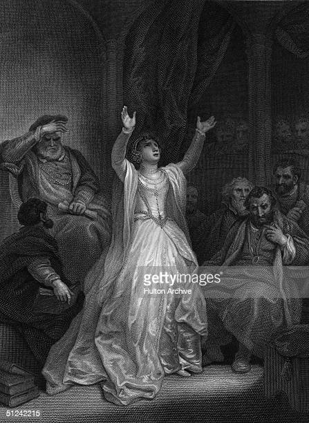 May 1536 English queen Anne Boleyn second wife of King Henry VIII raises her arms in despair on being sentenced to death for high treason at the...