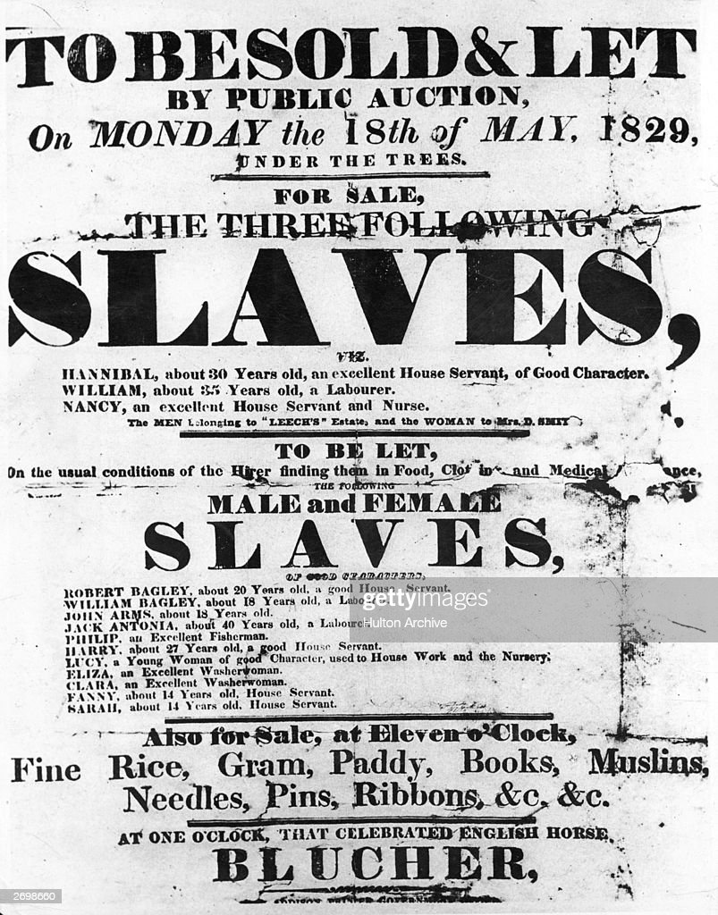 A Sale Bill poster used to advertise a public auction of slaves in the West Indies