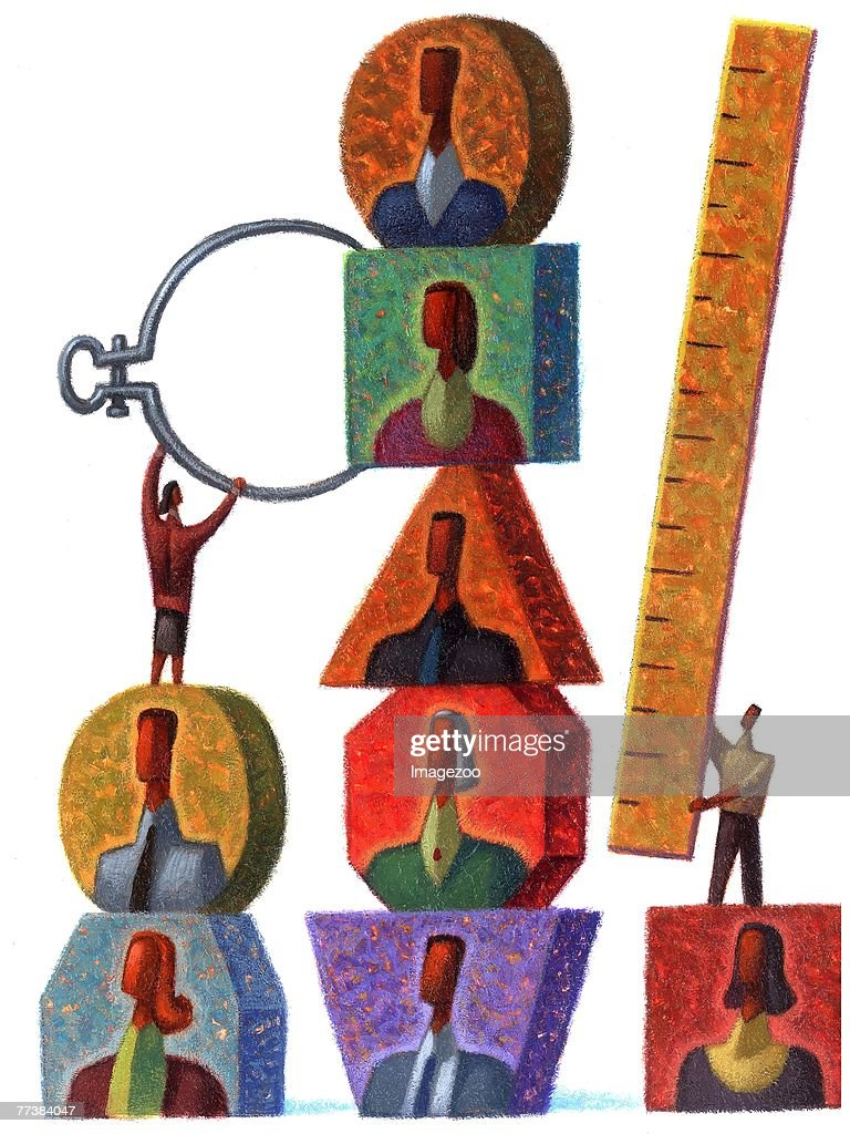 measuring people with calipers and ruler : Stock Illustration