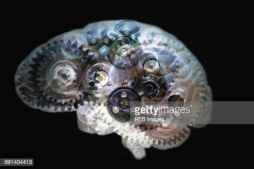 Mechanical gears turning in brain : Stock Illustration