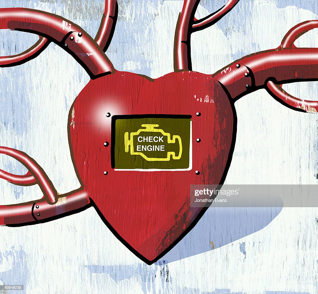 Mechanical heart with check engine warning : Stock Illustration