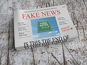 US Media Concept: Pile of Newspapers Fake News On Scratched Old Wood, 3d illustration