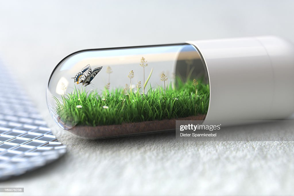 Medicine capsule with greenfield and butterfly : Stock Illustration