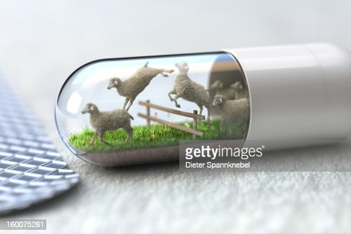 Medicine capsule with jumping sheep inside : Stock Illustration