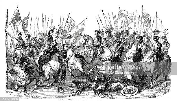 Medieval battle scene (antique engraving)