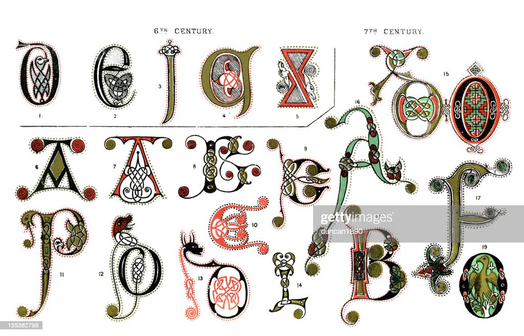 Medieval Illuminated Letters Stock Illustration | Getty Images