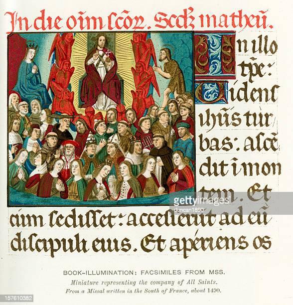 Medieval Illumination Jesus and all the saints