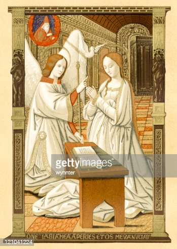 http://media.gettyimages.com/illustrations/medieval-lithograph-print-of-virgin-mary-at-annunciation-illustration-id121041224?s=170667a&w=1007