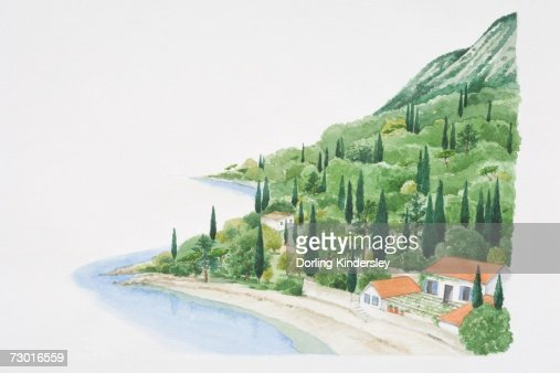 Mediterranean landscape showing house on beach at bottom of wooded hillside. : Stock Illustration