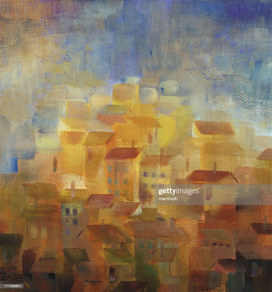 mediterranean town at sunset : Stock Photo