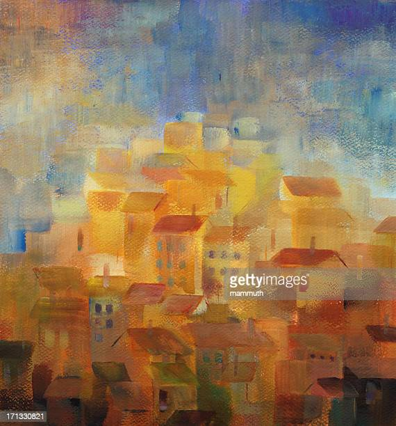 mediterranean town at sunset