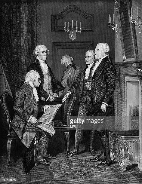 Members of Washington's first presidential cabinet and secretary of war Henry Knox secretary of state Thomas Jefferson attorney general Edmund...
