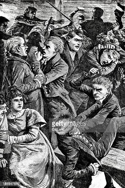 Men Fighting - Victorian Engraving