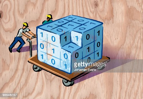 men pushing cart of data : Stock Illustration