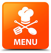 Menu (restaurant icon) isolated on orange square button abstract illustration