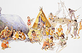 Mesolithic man, gathering around fire in family groups and building dwellings