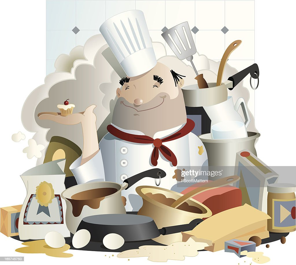 Messy Kitchen Catering: Messy Chef Vector Art