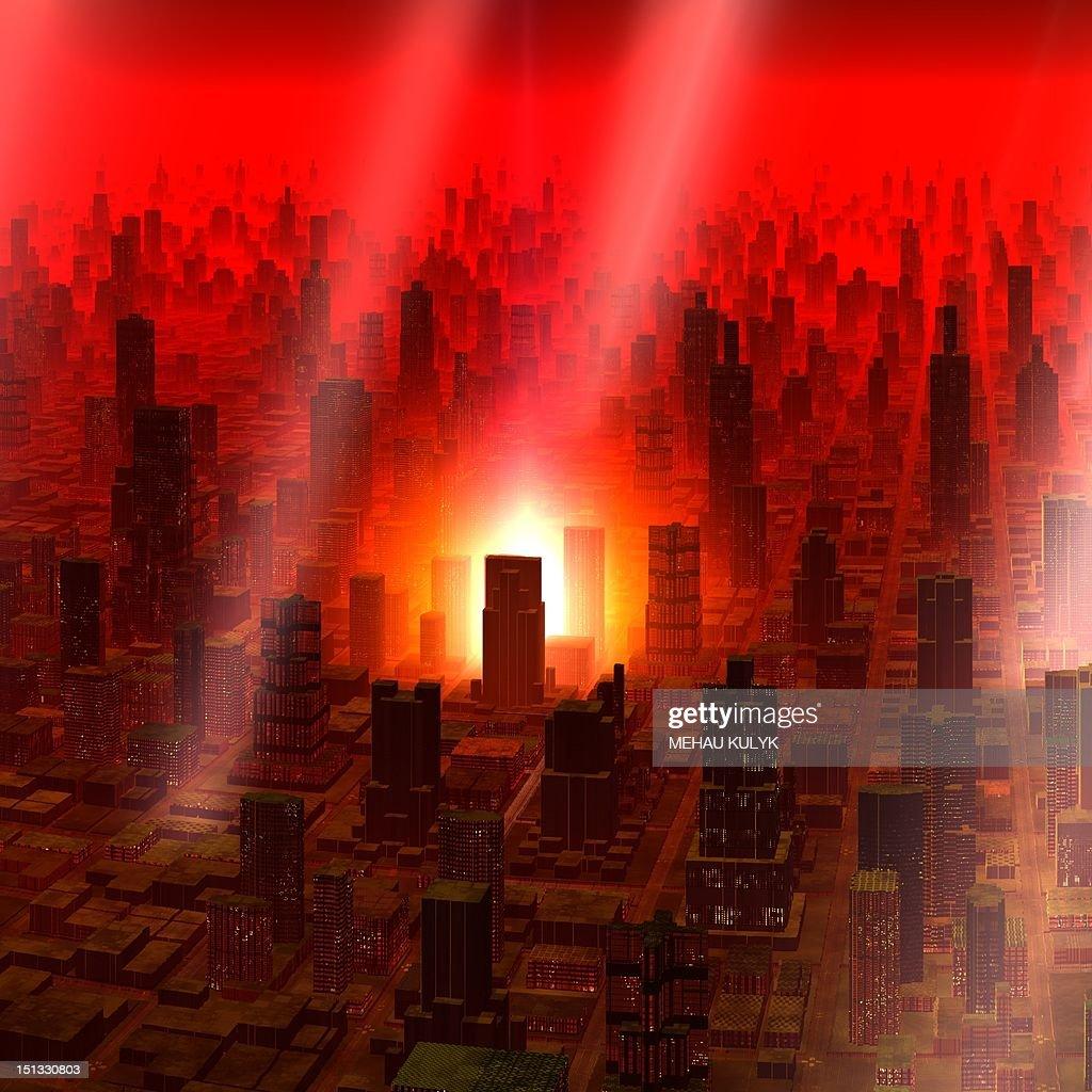 Meteor shower over alien city, artwork : Stock Illustration