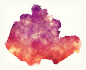Miaoli County watercolor map of Taiwan in front of a white background