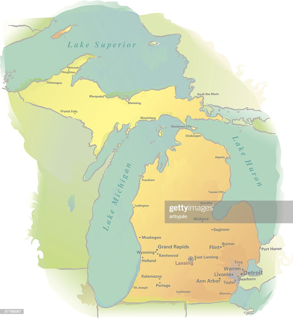 Michigan Map Watercolor Style Vector Art Getty Images - Ann arbor michigan map