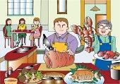 Mid Adult Man Preparing a Food, Illustrative Technique