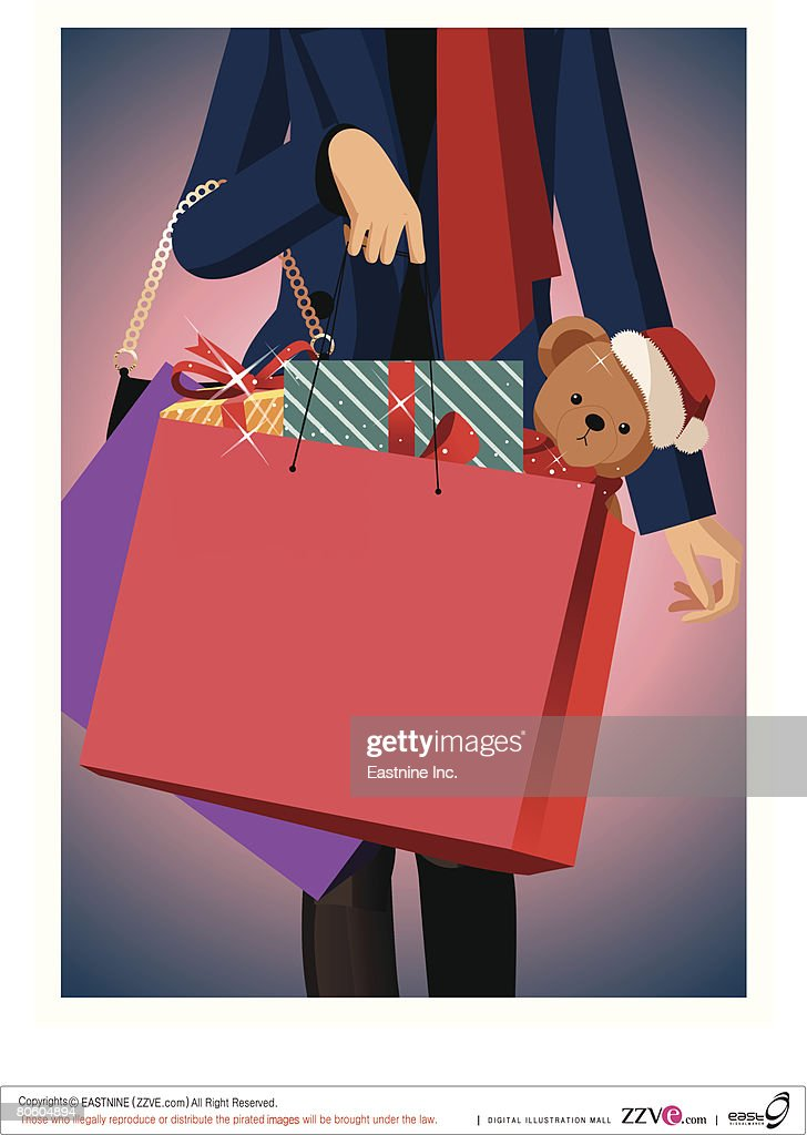 Mid section view of a woman carrying shopping bags : Vector Art